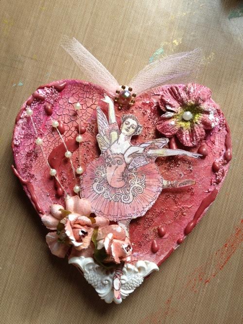 Ballerina paper mache heart group (2)